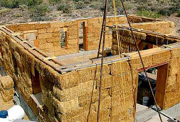 Straw bale houses what are they for Adobe construction cost
